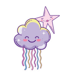 Clouds and stars cute cartoons vector