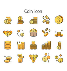 Coin icon set filled outline style vector