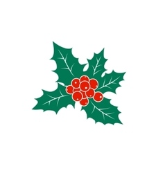 Colorful Christmas Holly Berry Isolated on White vector image