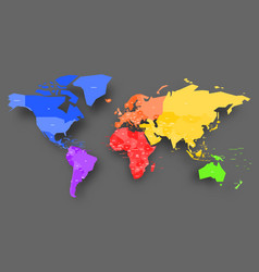 colorful map of world simplified map with vector image