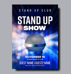 colorful poster of best stand up night show vector image
