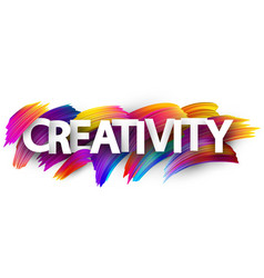 Creativity sign with colorful brush strokes vector