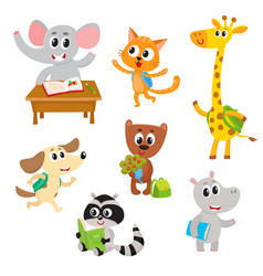 Cute little animal students characters studying vector