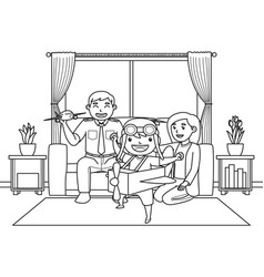 dad and mom with their son who wants vector image
