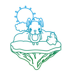 degraded line cute female rabbit in the float vector image