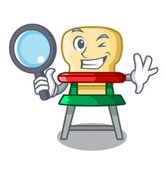 detective cartoon baby highchair for kids feeding vector image