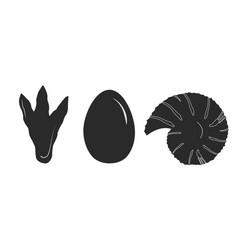 dinosaur track dinosaur egg and ammonite vector image