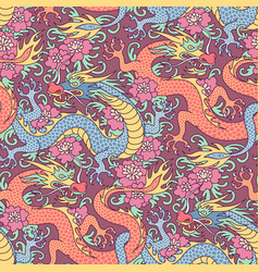 Dragons in flowers vector