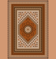 Ethnic carpet with design in brown shades vector