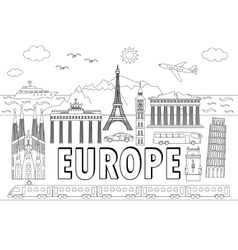 europe travel set vector image
