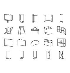 Exhibition line icon set vector
