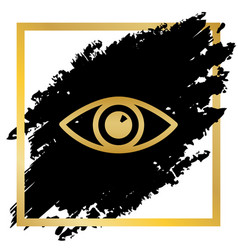 eye sign golden icon at vector image
