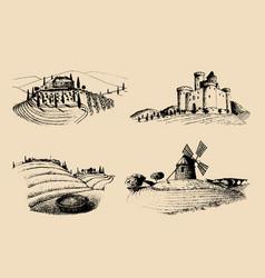 Farm landscapes set sketches vector