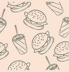 fast dood burger and soda seamless pattern vector image
