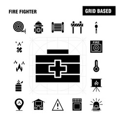 Fire fighter solid glyph icon for web print and vector