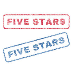 five stars textile stamps vector image