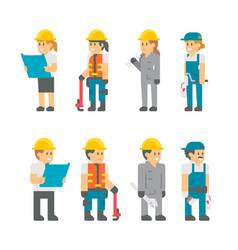 Flat design building workers set vector