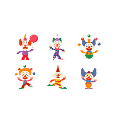 Flat set of 6 funny clowns in different vector