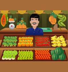 Fruit seller in a farmer market vector