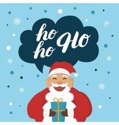 Funny Santa Claus with gift say hoho vector