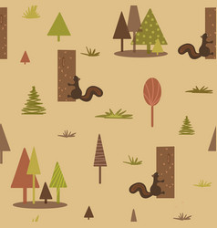 geometric squirrel tree forest pattern seamless vector image