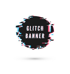 Glitch effect circle advertising banner digital vector