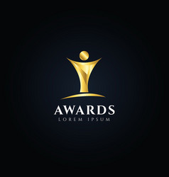 gold trophy awards logo design symbol icon vector image