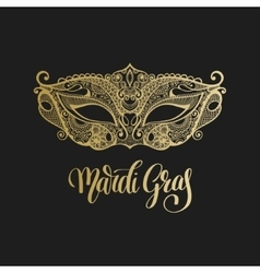 Gold venetian carnival mask with hand lettering vector