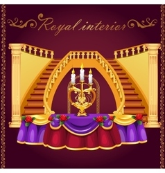 Golden staircase and table with candlestick vector image