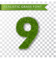 Grass number nine green number 9 isolated on vector