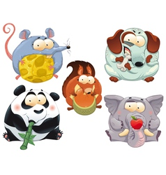 Group funny animals with food vector