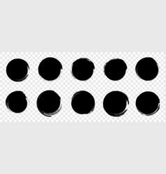 grunge round shapes black circle brush stroke vector image