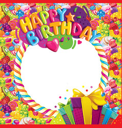 happy birthday color frame vector image