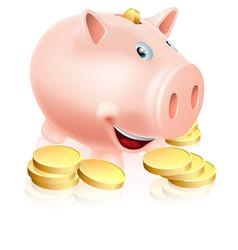 happy piggy bank vector image