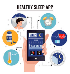 Healthy sleep app design concept vector