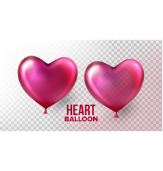 heart balloon transparent 3d realistic air vector image