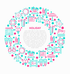 holiday concept in circle with thin line icons vector image