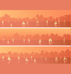 Horizontal banners with sailboats and cumulus vector