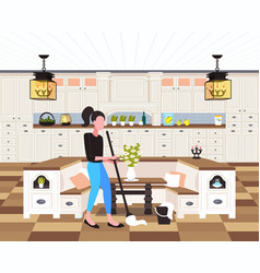 housewife mopping floor woman cleaner using mop vector image