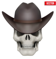 Human skull with cowboy hat on head vector