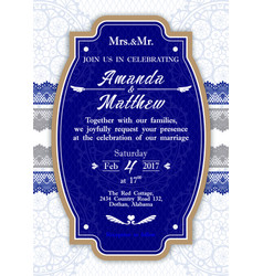 Invitation to the wedding in blue vector