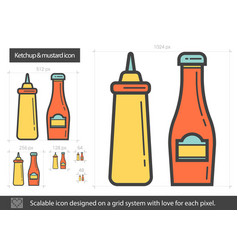 ketchup and mustard line icon vector image
