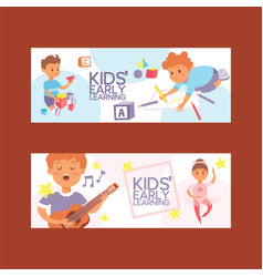 kids cartoon girl boy characters children dancing vector image