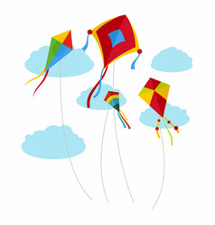 Kites fly in sky background flat style vector
