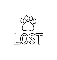 lost dog hand drawn outline doodle icon vector image