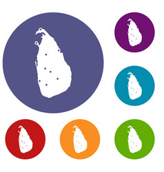 Map of sri lanka icons set vector