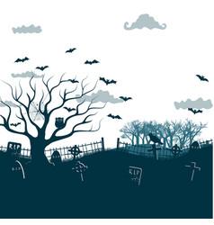monochrome halloween night background poster vector image