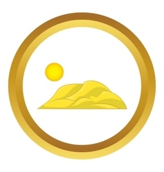 Mountain and the sun icon vector image