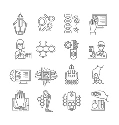 Nanotechnology Linear Icons Set vector