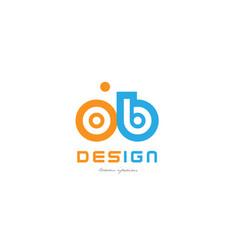 Ob o b orange blue alphabet letter logo vector